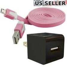 AC Power Adapter & Flat Micro-USB Cable for Samsung Nokia Motorola HTC LG, Pink
