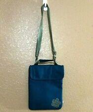 Haiku Crossbody Bag Ipad Sleeve Teal Vegan Purse Modern Flower Adjustable Straps