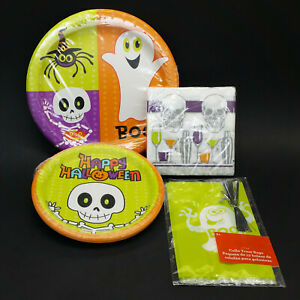 Halloween Party Supply Set Lot Plates Napkins Snack Treat Bags Ghost Skeleton