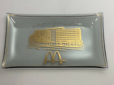 Vintage McDonald's Corporate Building Smoke Glass Tray With Gold Accents