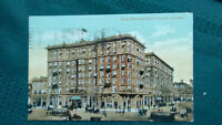 Vintage colored postcard, King Edvard Hotel ,Toronto Canada 1912, old streetcars