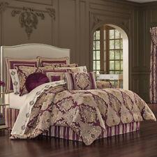 J Queen Amethyst Queen 4 Piece Elegant Comforter Set - Purple Gold Taupe Damask