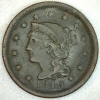 1849 Braided Hair US One Cent Penny Coin 1c Large Cent Copper Coin VF Very Fine