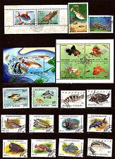 TOUS PAYS Poissons de mer et d'aquarium ,timbres et blocs oblitérés G104
