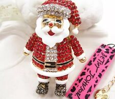 Betsey Johnson Necklace Chubby SANTA CLAUS Red Gold CRYSTALS ENAMEL