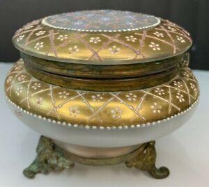 Antique Dresser Vanity Powder Jar Footed Satin Glass Painted Enamel Flowers
