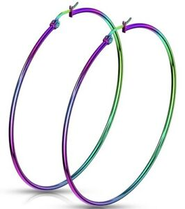 *NEW & SEALED -High Quality Extra Large 75mm Rainbow Hoop Pair Of Earrings