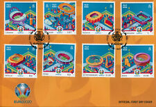 More details for isle of man iom 2021 fdc football stamps uefa euro 2020 stadiums sports 8v set