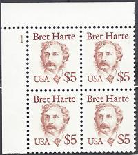 $5.00 Bret Harte Def (2196) Plt Blk Face $20 Fs