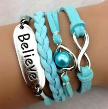 Lucky 8 Pearl Love  Antique Silver Blue Leather Friendship Bracelet