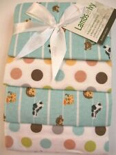 Lambs & Ivy 4 Pack Flannel Receiving Baby Blankets Safari and Polka Dots