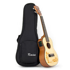 Kmise Spruce 23 Inch Electric Acoustic Concert Ukulele Hawaiian Guitar With Bag