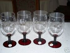 PRINCESS HOUSE HERITAGE RUBY / RED STEMMED SET OF 4 GLASSES