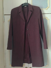 Ladies maroon and white stripe formal coat Size S with buttons Polyester