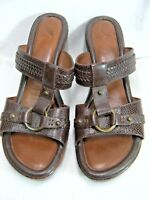 Nurture Womens Sandals Heels Size 10 M ENCORE Lime Brown Leather Slip on  # Y