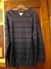 NWOT! Women's Ruff Hewn Gray/Blue & Plum Print Long Thin Pullover Sweater, MED