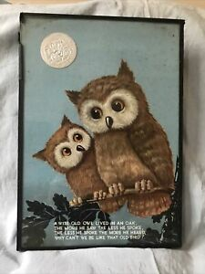 """Vintage Charming Rare Framed Picture OWL """"A Wise Old Owl Lived In An Oak"""""""
