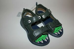 Carter's Light-Up Green Dinosaur Sandals Summer Little Boys Shoes Size 11 12 NWT