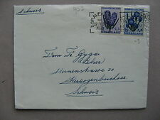 NETHERLANDS, cover to Switzerland 1953, 2 stamp franking flowers, zomerzegels