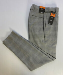 "M&S Mens Light Grey Check Skinny Fit STRETCH Dress Trousers W36"" L29"" S RRP£29.5"