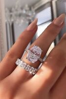 14k White Real Gold Oval Cut 5.00 Ct Diamond Bridal Women's Engagement Ring Set
