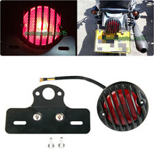 BLACK MOTORCYCLE TAIL BRAKE RUNNING LICENSE LIGHT LAMP PLATE MOUNT GRILLE ROUND