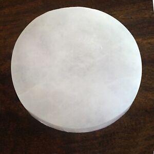 """XL Polished Natural Selenite Crystal """"Charging"""" Disk Plate """" Tile Station Block"""