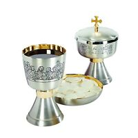 Last Supper Communion Etched Set: Chalice & Bowl Paten & Ciborium with Cover