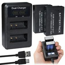 2pk LP-E17 Battery + charger for Canon EOS M3 M5 M6 200D 77D 750D 760D 8000D T7i