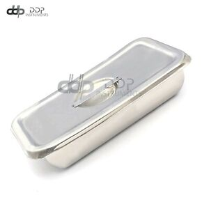 """8""""x4""""x2""""Hospital Holloware Surgical Instrument Stainless Steel Trays&Lid DN-2227"""