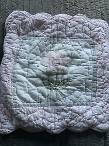 Pair of Girls Pink/ White Floral Quilted Cushion Cover