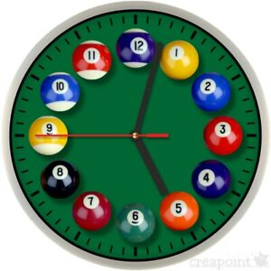 #201 Wanduhr » Billard-Kugeln «  optional mit lautlosem Uhrwerk Billard Zubehör