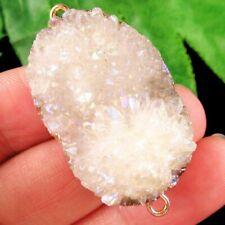 White Titanium Crystal Agate Druzy Quartz Geode Connector Pendant Bead Q62813