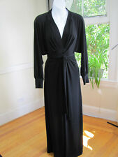 Moda International Black Maxi Dress Open Back Wrap Front Long Sleeve Stretch (S)