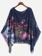 Women Batwing Sleeve Loose Asymmetric Tunic Blouse Top T-shirt Plus Size Shirts