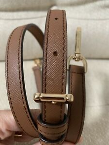 MICHAEL KORS BROWN LUGGAGE SAFFIANO LEATHER GOLD SHOULDER STRAP REPLACEMENT 49.5