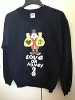 LOVE OR MONEY DONALD DUCK UNISEX Sweatshirt Sweater Jumper  DOPE / MOUSTACHE