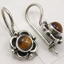 """925 Pure Silver BROWN TIGER'S EYE RETRO STYLE Earrings 3/4"""" TRIBAL JEWELRY"""