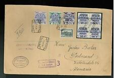 1937 Las Palmas Spain Registered Censored Cover to Germany Local Issue Surcharge