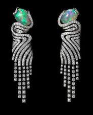 30ct Long Earring Solid 925 Sterling Silver Oval Opal Wedding Jewelry Cz Women*