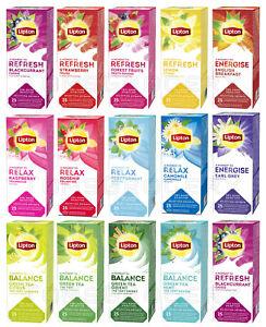 LIPTON TEA SELECTION Refresh Relax Energise Flavor Variety 25 Envelopes Per Box