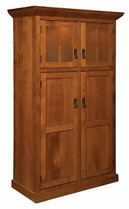 Amish Kitchen Pantry Storage Cupboard Arts & Crafts Craftsman Rollout Shelf Wood