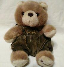 "Harrods London Knightsbridge Bear Backpack Corderoy Stuffed Plush Overalls 10"""