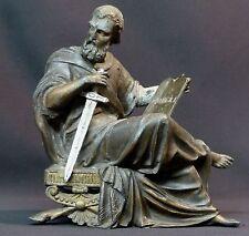 19ème rare statuette sculpture Saint Paul au glaive 1.5kg20cm art sacré Dieu