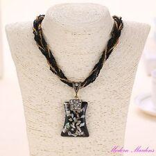 Glass Bead & Cord Rhinestone & Resin Paua Shell Pendant Necklace 44cm