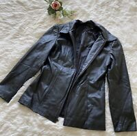 Preston And York Womens Black genuine Leather zipper Moto Jacket Size SMALL