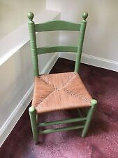 CHAIR SHAKER LADDERBACK with HAND RUSH SEAT Antique Green