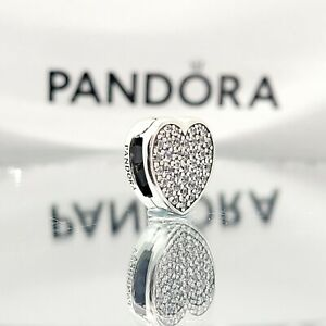 Pavé Heart Clip Charm 798684C01 Reflexions Bracelet Gift Pandora 100% authentic
