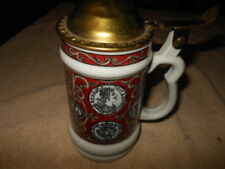 """Vintage signed with """"B""""   Copper-Lidded  Beer Stein - Marked with B Red Black"""