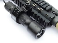 LED Gun Flashlight 600 Lumens Rifle or Shotgun Picatinny mount USB Rechargeable